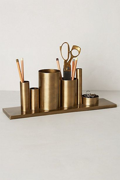 Codify Pencil Holder #anthropologie.. GOLD PAINT THE TISSUE AND FOIL  ROLLS