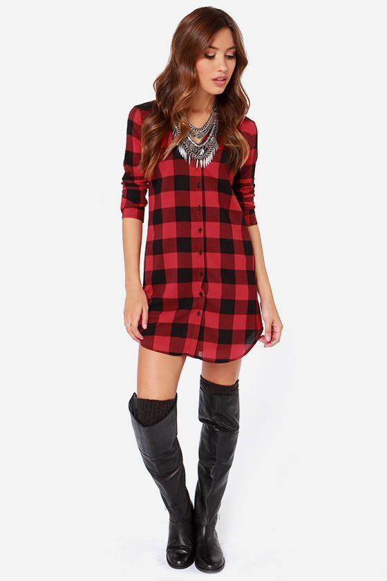 BB Dakota Suzett Red Plaid Shirt Dress at LuLus.com!