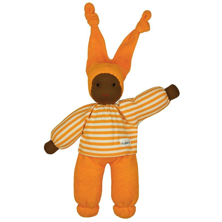 Keptin-Jr Rag Doll Jessie Orange Big, small, blond or black, everyone is welcome in the Rag Doll family. Keptin-Jr Rag Doll Jessie is a soft doll to play with, to cuddle, and to take with you everywhere you go. The environmentally friendly carton packaging can be transformed into a Doll's Bed and decorated by your child. The simple designs of the toys will stimulate the child's creativity and imagination, and the natural fabrics easily absorb and maintain the child's scent and body…