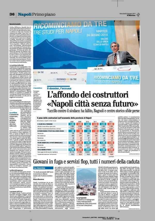 L' affondo dei costruttori «Napoli città senza futuro»