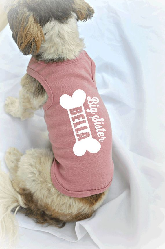 Personalized Dog Tank Top with Your Dog's Name. Customized Dog Shirts by RedemptionDog. Big Sister and Big Brother Dog Shirt.