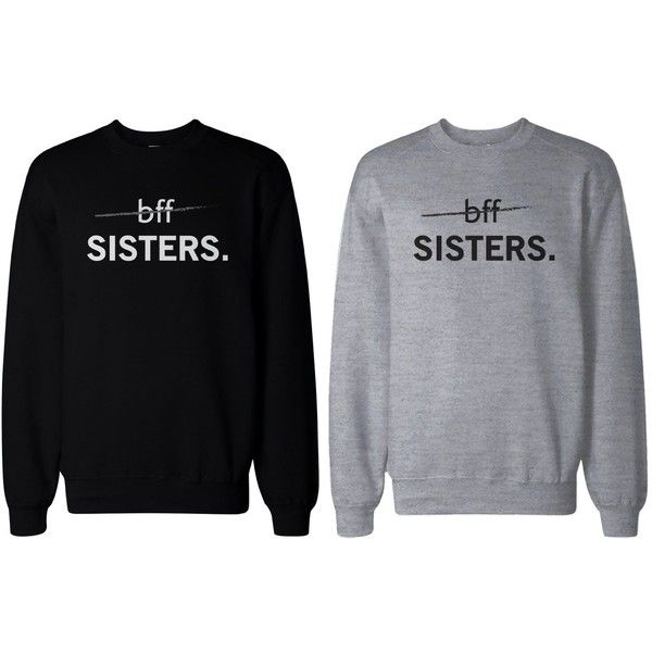 Matching BFF Black and Grey Sweatshirts for Best Friends BFF Sisters (£31) ❤ liked on Polyvore