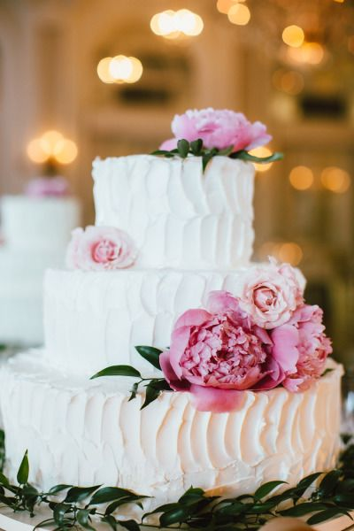 Textured wedding cake with pink peonies: http://www.stylemepretty.com/little-black-book-blog/2015/02/06/romantic-summer-wedding-at-the-georgian-terrace/ | Photography: Our Labor of Love - http://ourblogoflove.com/