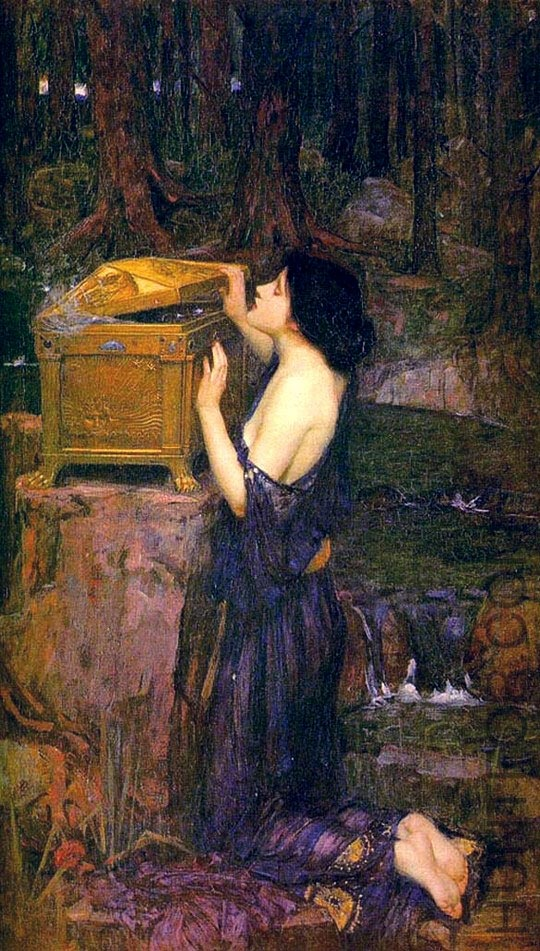 "John William Waterhouse: Pandora's Box-- The ""box"" was actually a large jar given to Pandora which contained all the evils of the world. When Pandora opened the jar, all its contents except for one item were released into the world. The one remaining item was Hope. Today, to open Pandora's box means to create evil that cannot be undone."