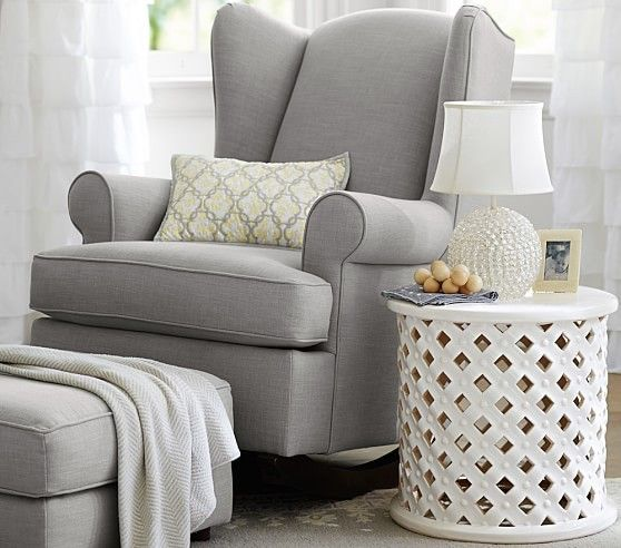 We crafted this plush glider with nursing mothers' needs in mind. The padded head rest is extra supportive, and the winged back and smaller armrests offer more shoulder and elbow space.