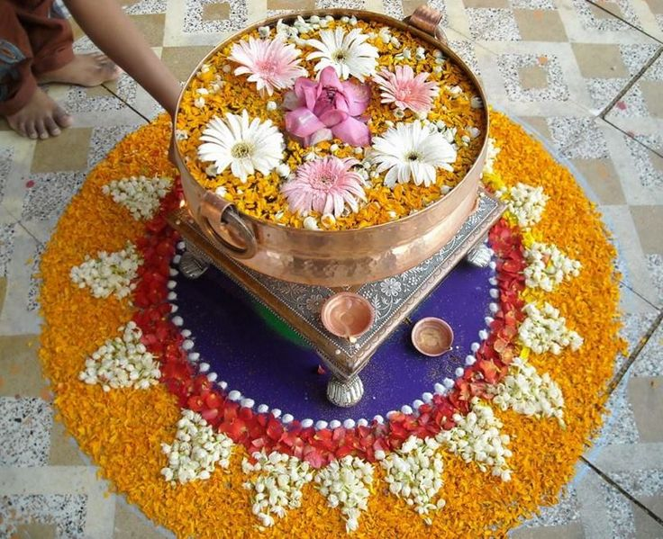 Floating Flower Rangoli Designs and Patterns for Diwali
