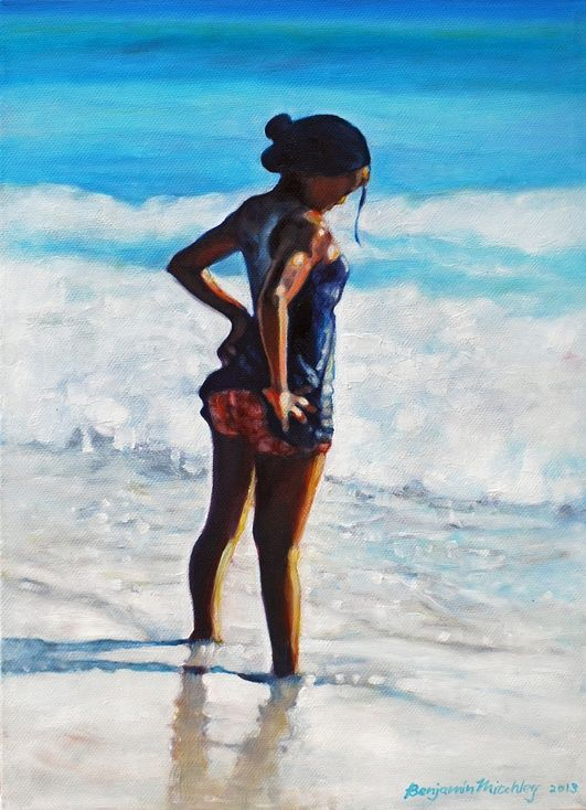 ARTFINDER: Girl in the Sand by Benjamin Mitchley - Oil on Canvas, 25x36x4cm #Art #Painting #Oil #Fine_Arts #Contemporary #Benjamin_Mitchley #Figurative #Female #South_Africa