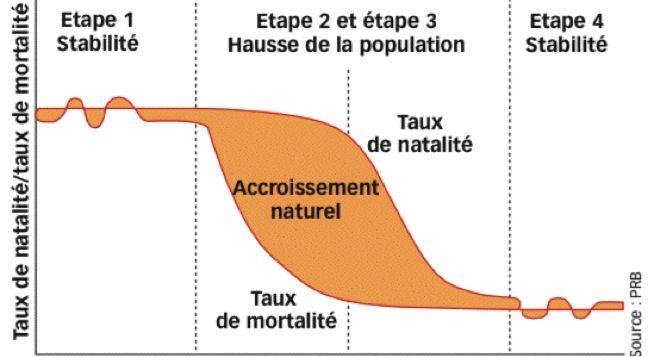 La transition démographique est un modèle spatio-temporel permettant de décrire le passage d'une population ayant des taux de natalité et de mortalité élevés à une population ayant des taux de natalité et de mortalité faibles