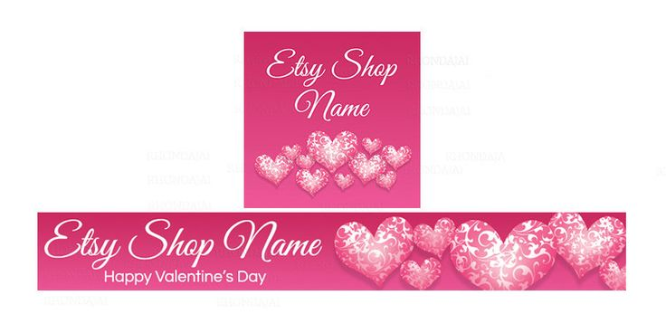 Etsy Banners - Pink Etsy Banners - Valentine's Day Banner and Shop Icon Set  - PS 5 - Etsy Valentine's Banners - 2 Piece Set by RhondaJai on Etsy