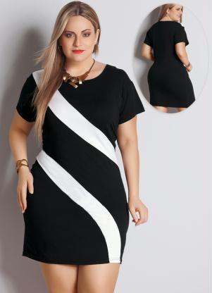 Vestido Bicolor Preto e Branco Plus Size - Posthaus
