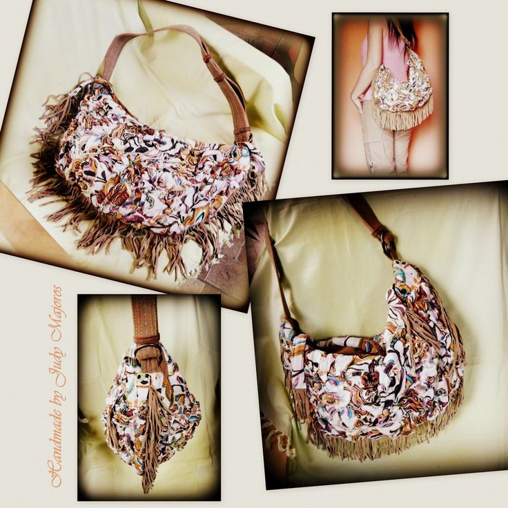 Handmade by Judy Majoros - Leather fringe boho bag. shoulder bag. Crossbody bag. Multi colour. Recycled bag