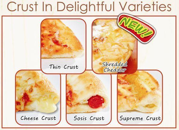 Crust in Delightful Varieties & new Crust Shredded Cheedar