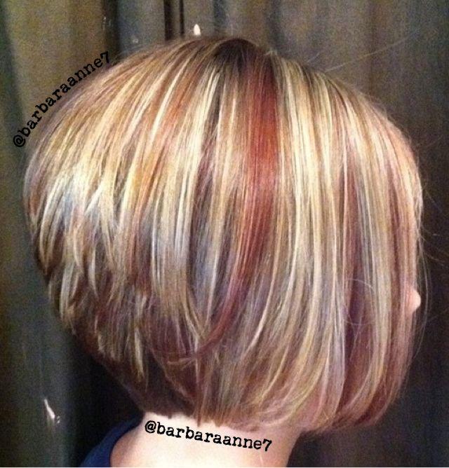 Dimensional Color, highlights, lowlights, blonde, red, diagonal forward haircut, asymmetrical, stacked bob, @btcmag