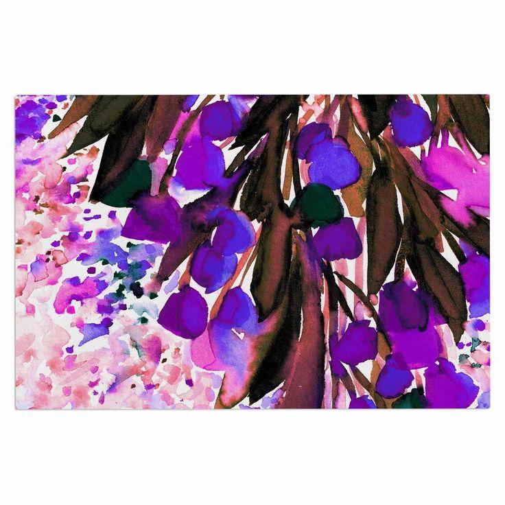 "Ebi Emporium ""Botanical Regency, Purple"" Pink Black Decorative Door Mat"