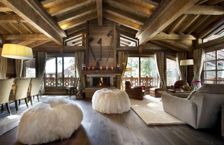 salon de design chalet montagne