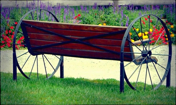 old+wagon+wheel+bench | Found on fineartamerica.com