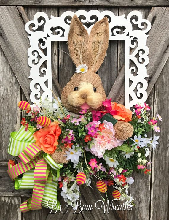 Reserved Easter Wreath Easter Door Hanging Spring by BaBamWreaths