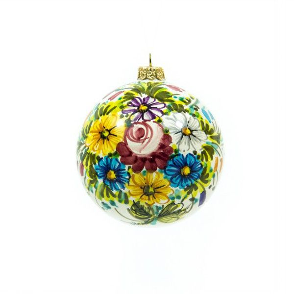 Ceramic Christmas ball or bauble with flower decoration. Traditional Italian ceramic decoration called Fioraccio of Abruzzo, multicolor wild flowers.