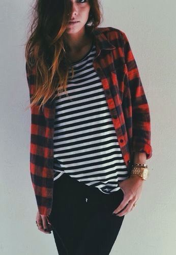 Black n white striped shirt. Red and black plaid shirt. Ripped black skinnies. Black shirt booties.
