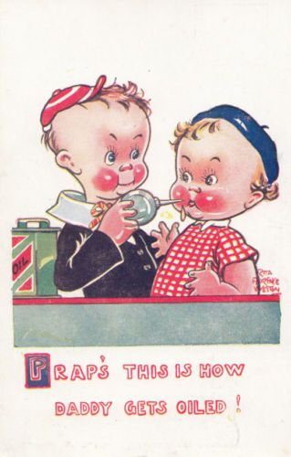 Winston-Churchill-How-Daddy-Gets-Oiled-Drunk-Baby-Antique-Comic-Humour-Postcard