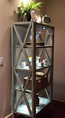DIY plans Rustic X Tall Bookshelf