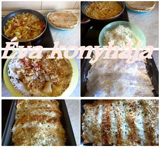 Lecsós tortilla Lecsó tojással, ezt töltöttem a kész tortillába, tejföl a tetejére + reszelt sajt.