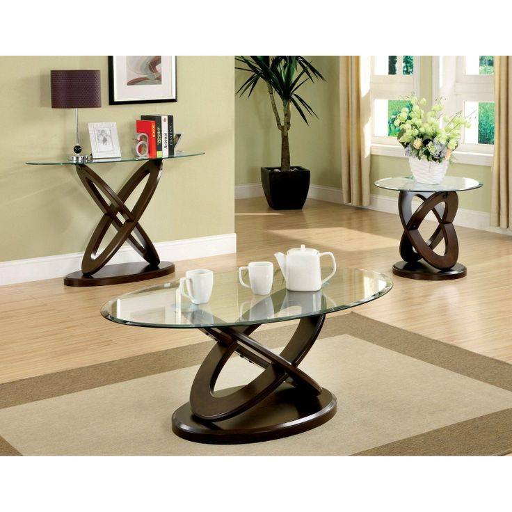 Set Includes: One Coffee Table, One End Table And One Sofa Table. Furniture  Of America Evalline Dark Walnut Accent Table Set.