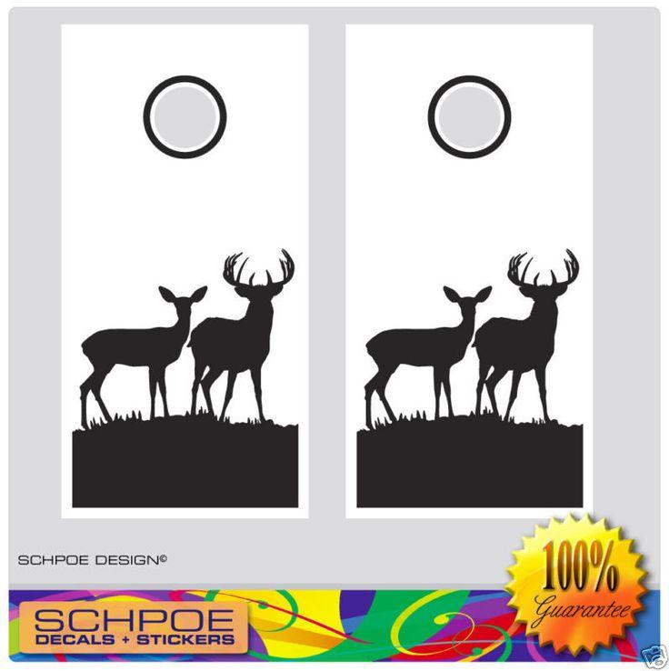 Cornhole Board Decal Set buck doe Deer Hunting bean bag