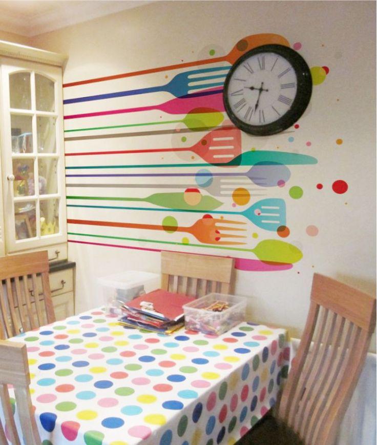 Рисунки на стене на кухонную тему
