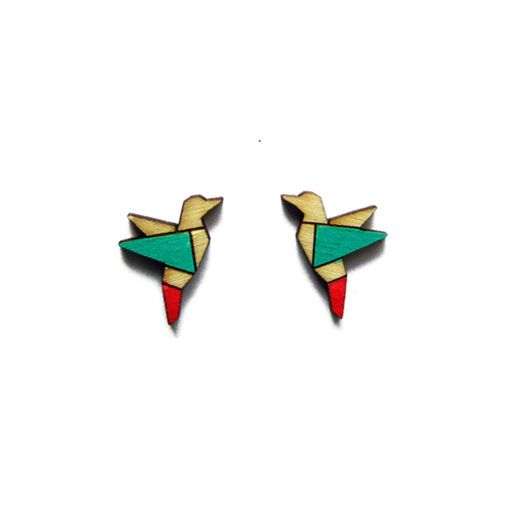 Hand painted, laser cut Hummingbird earrings by ALZBETA DESIGN ... Earrings are made of 2mm plywood.