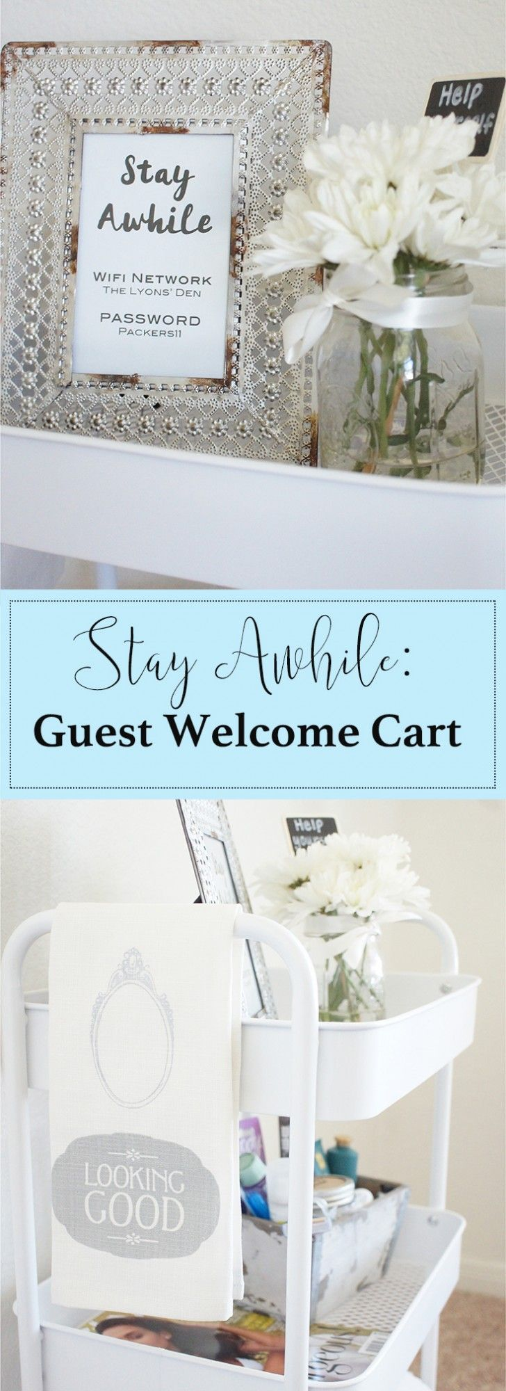 Design a guest cart for your guest bedroom! Kind of love this idea, makes the house feel more homie.