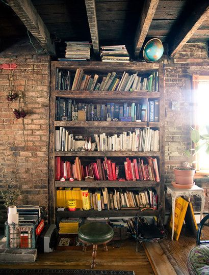 "Ok, so this is completely a PHOTOGRAPH from the dream house in my mind's eye... My house would be less cluttered and not quite as ""elderly"", but to the right of the bookcase would be the large rustic table then the kitchen.  To the left, the sunken living room."