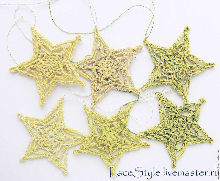 Купить Звезды вязаные. Новогодний декор в интернет магазине на Ярмарке Мастеров