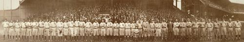 """Ty Cobb, Walter Johnson, and Frank """"Home Run"""" Baker formed part of an entourage that was fit for royalty. Shown in this panoramic photo with many other stars and future Hall of Famers, they arrived in Cleveland on July 24, 1911, having volunteered to play in an all-star game to benefit the family of their friend and colleague, Cleveland pitcher Addie Joss."""