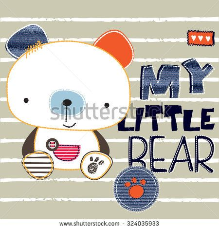 cute teddy bear on striped background, T-shirt design vector illustration