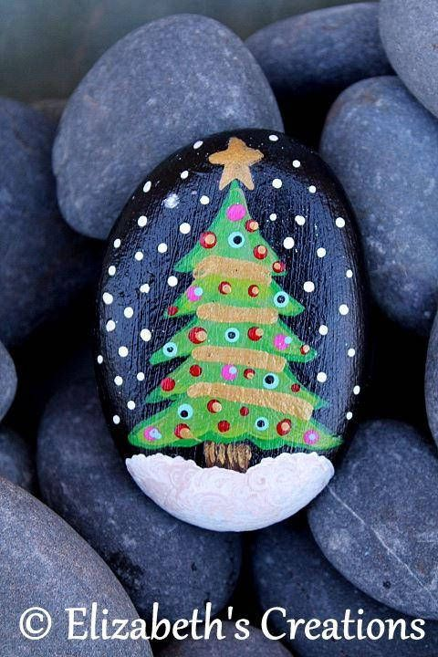 Beautiful hand painted Christmas Tree Stone . This stone measures approximately 3.25. x 2.25. The colors are very rich and vibrant as you can see and this design is made entirely from hand painted dots.... dot by dot! Shipping is done thru USPS. I ship priority so it is a fixed cost.