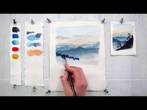 How to paint a simple landscape in watercolor - YouTube