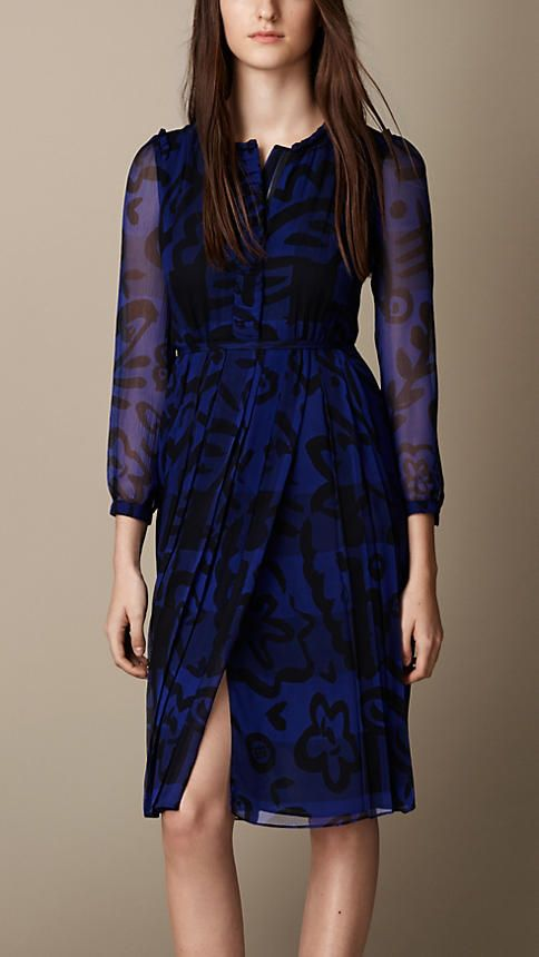 Burberry Brit Floral Print Check Silk Dress