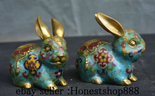 "5"" Old Chinese Cloisonne Enamel Fengshui 12 Zodiac Year Rabbit Lucky Statue Pair"