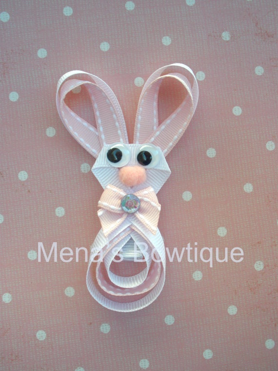 Easter bunny hair clip.  Adorable for your little girls hair!
