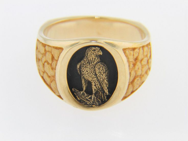 Vintage Antique Eagle Cameo Band Ring 14k Yellow Gold Black Enamel Size 8 5 | eBay