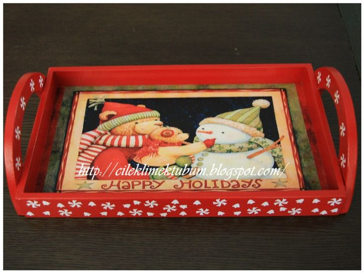 decorative painting, christmas, yeniyil ahsap boyama tepsi