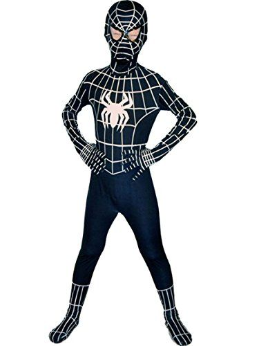 Boys Evil Black Spiderman Costume Kids Superhero Cosplay Lycra Full Bodysuit Zentai L ** More info could be found at the image url.