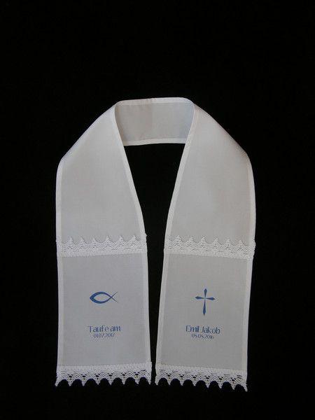 Taufkleidung - TAUFSCHAL NAME DATUM FISCH + KREUZ BLAU - ein Designerstück von Candelita123 bei DaWanda