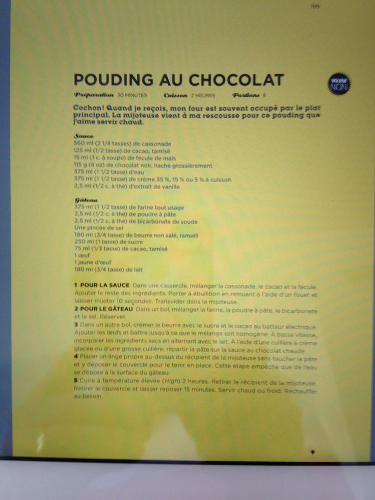 Pouding chocolat mijoteuse