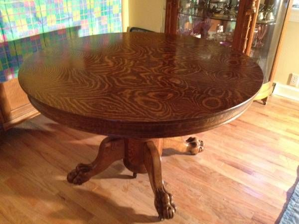 Antique extra large clawfoot pedestal table/ 2 chairs ...