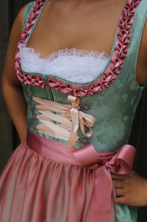 Satin pink and green dirndl