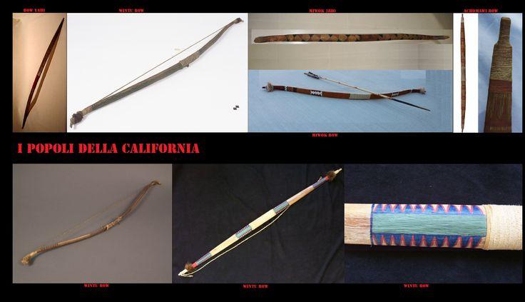 Archi tipici della California settentrionale (Wintu, Yahi e Achomawi) e arco con freccia della California centrale (Miwok). È da notare la differenza di stile con gli analoghi delle popolazioni più meridionali (pin precedenti). L'arco, come tra le altre popolazioni indigene nordamericane, era l'arma da getto principe. Il suo utilizzo era sia per gli scopi bellici che per quelli venatori.