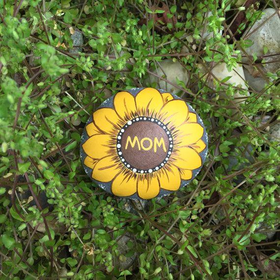 Mom Sunflower Rock with Bonus rocks by InnerSasa on Etsy
