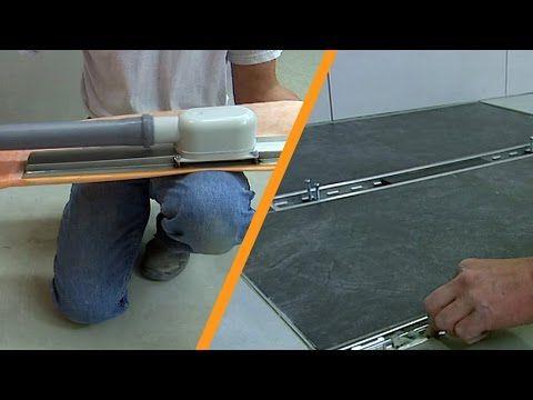 Tusoló csempeburkolat vonalmenti vízelvezetéssel: középre történő beépítés - YouTube